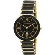Relógio Feminino Technos Shaphire 2015CE/4P 34mm Cerâmica Preta