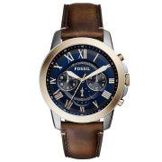 Relógio Masculino Fossil Blue Dial FS5150/5AN 44mm Couro Marrom