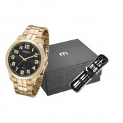 Relógio Masculino Mondaine 99195GPMVDE3K1 48mm Aço Dourado + Kit Manicure