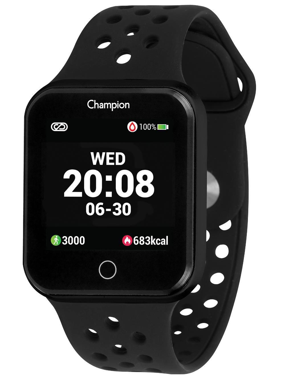 Relógio Champion Smartwatch CH50006P Bluetooth 4.0 Pulseira Preta