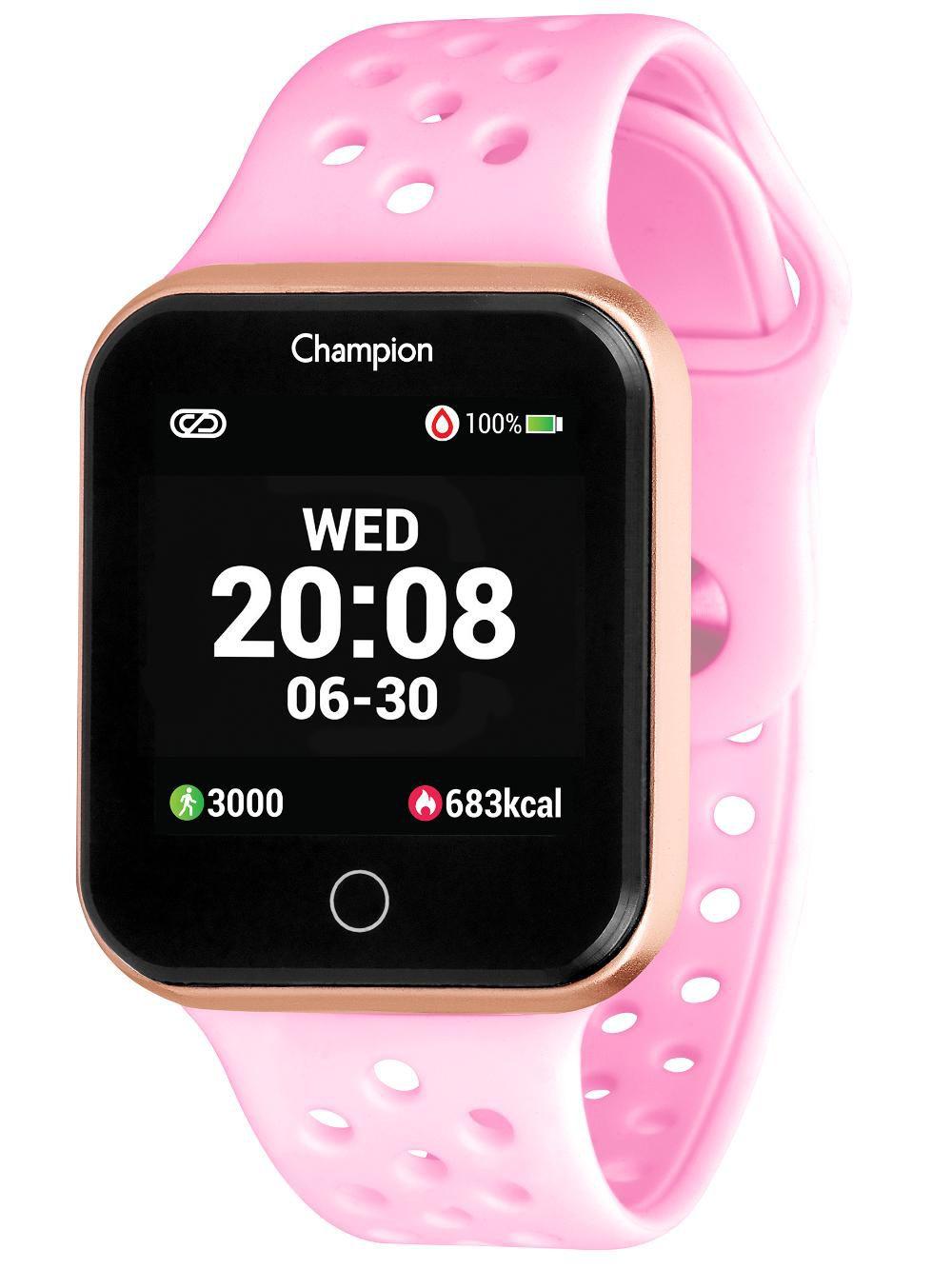 Relógio Champion Smartwatch CH50006R Bluetooth 4.0 Pulseira Rosa