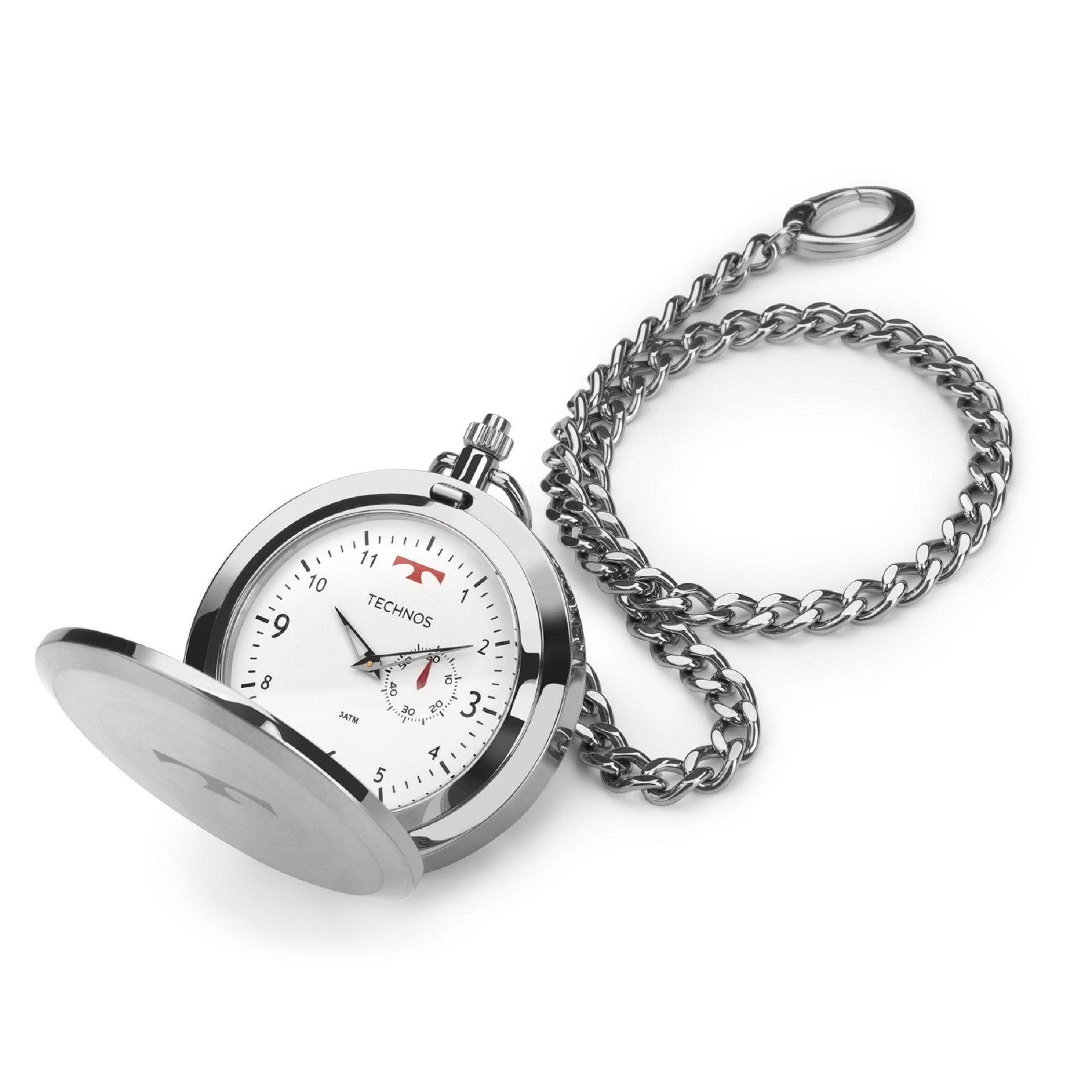 Relógio de Bolso Masculino Technos Classic 1L45BA/1B 49mm Aço Prata