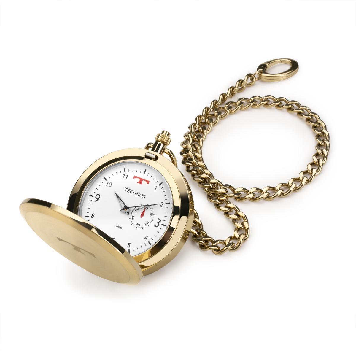 Relógio de Bolso Masculino Technos Classic 1L45BB/4B 49mm Aço Dourado