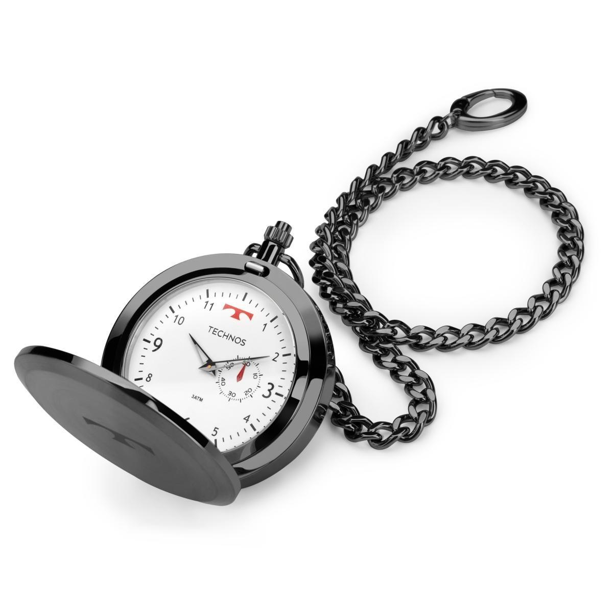 f9f51295eec Relógio de Bolso Masculino Technos Classic 1L45BC 4B 49mm Aço Grafite