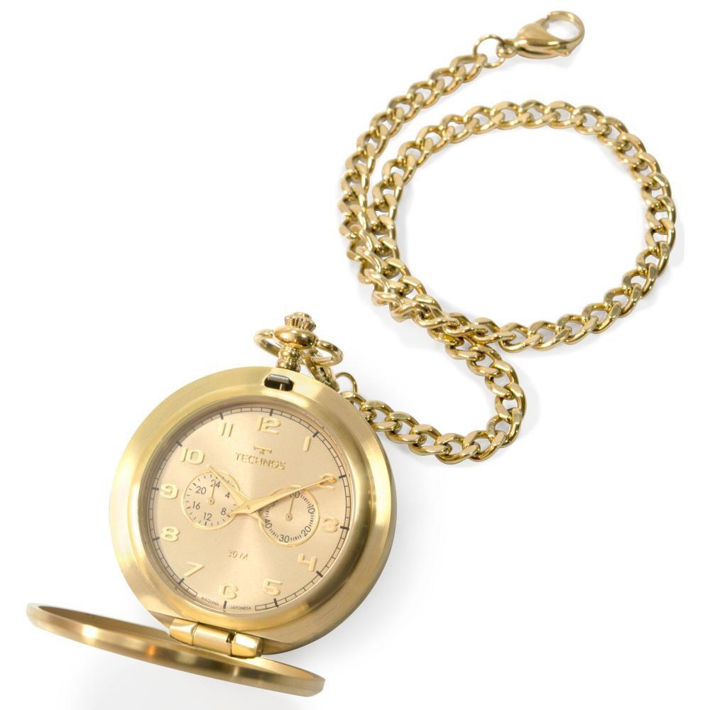 Relógio de Bolso Masculino Technos Heritage VD77AC/4X 51mm Aço Dourado
