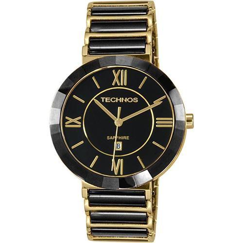 Relógio Feminino Ceramic 2015BV/4P Pulseira Dourada/Preta 40mm