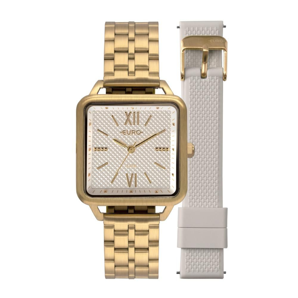 Relógio Feminino Euro Boyfriend EU2036YPG/T4B 33mm Aço Dourado/Silicone Off-White