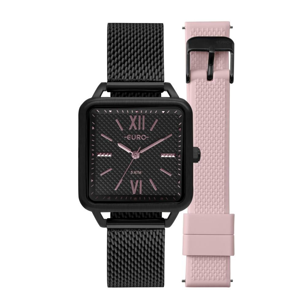 Relógio Feminino Euro Boyfriend EU2036YPH/T4P 33mm Aço Preto/Silicone Rosa