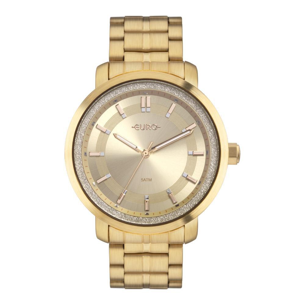 Relógio Feminino Euro Casual Shine EU2036YOY/4D 43mm Aço Dourado