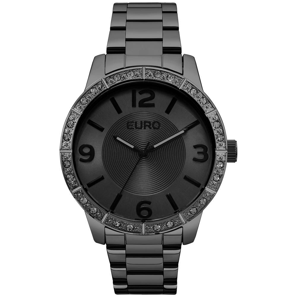 Relógio Feminino Euro EU2036YLQ/4P 43mm Aço Preto