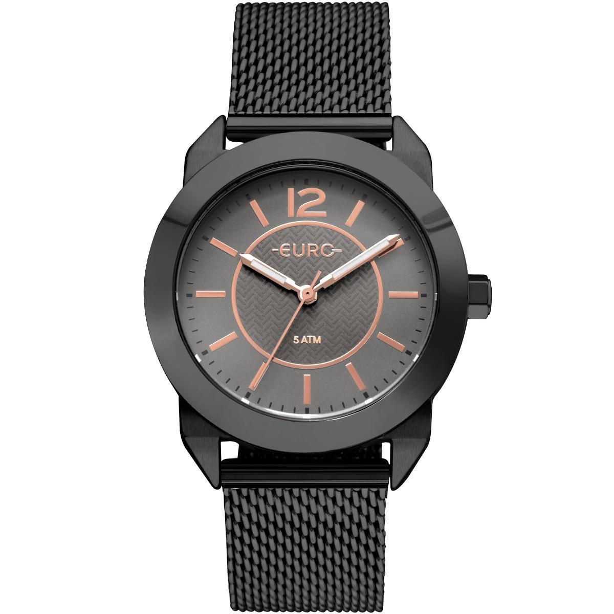 2ccda6ce626 Relógio Feminino Euro EU2036YLU 4P Pulseira Aço Preta