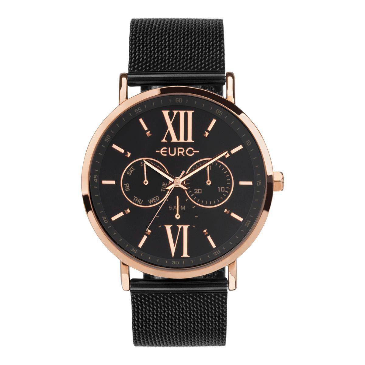 Relógio Feminino Euro EU6P29AHG/5P 43mm Aço Preto