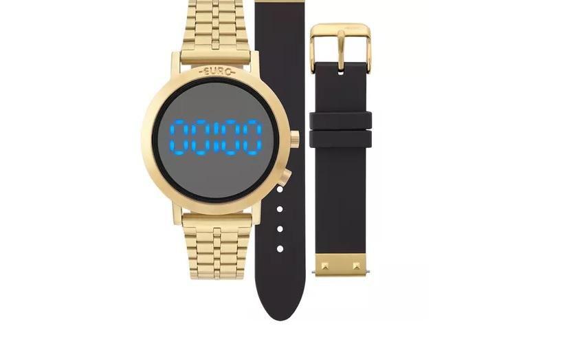 fb01b96d92d Relógio Feminino Euro EUBJ3407AA T4P Digital 38mm Aço Dourado