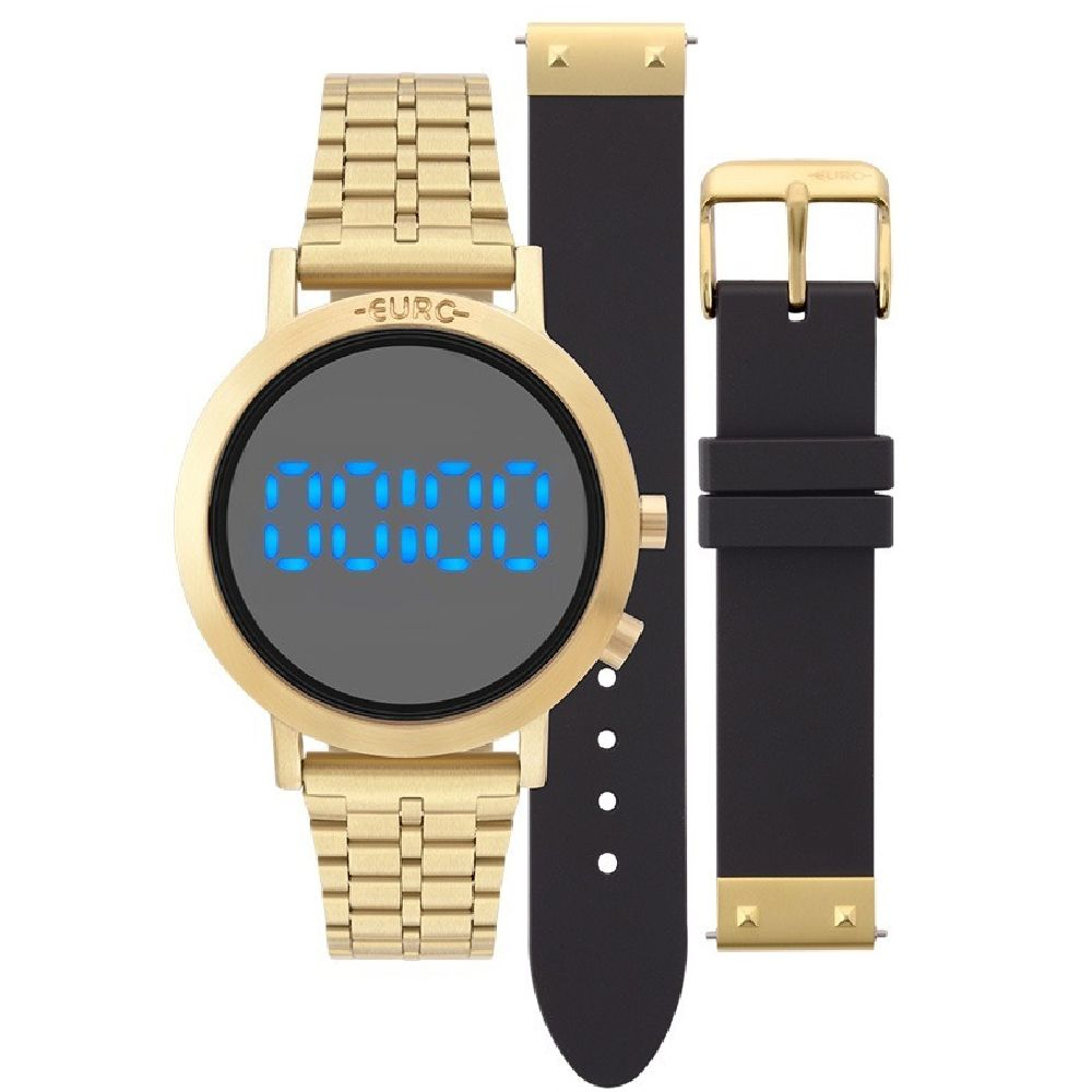 Relógio Feminino Euro EUBJ3407AA/T4P Digital 38mm Aço Dourado