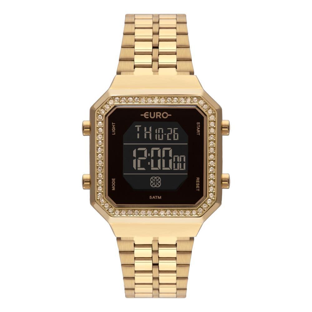 Relógio Feminino Euro Fashion Fit Digital EUBJK032AB/4P 34mm Aço Dourado
