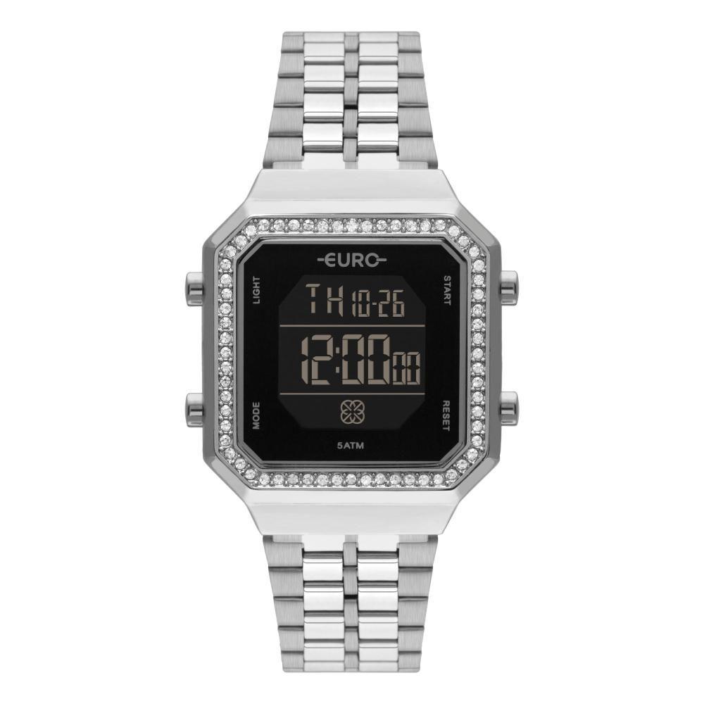 Relógio Feminino Euro Fashion Fit Digital EUBJK032AD/3P 34mm Aço Prata