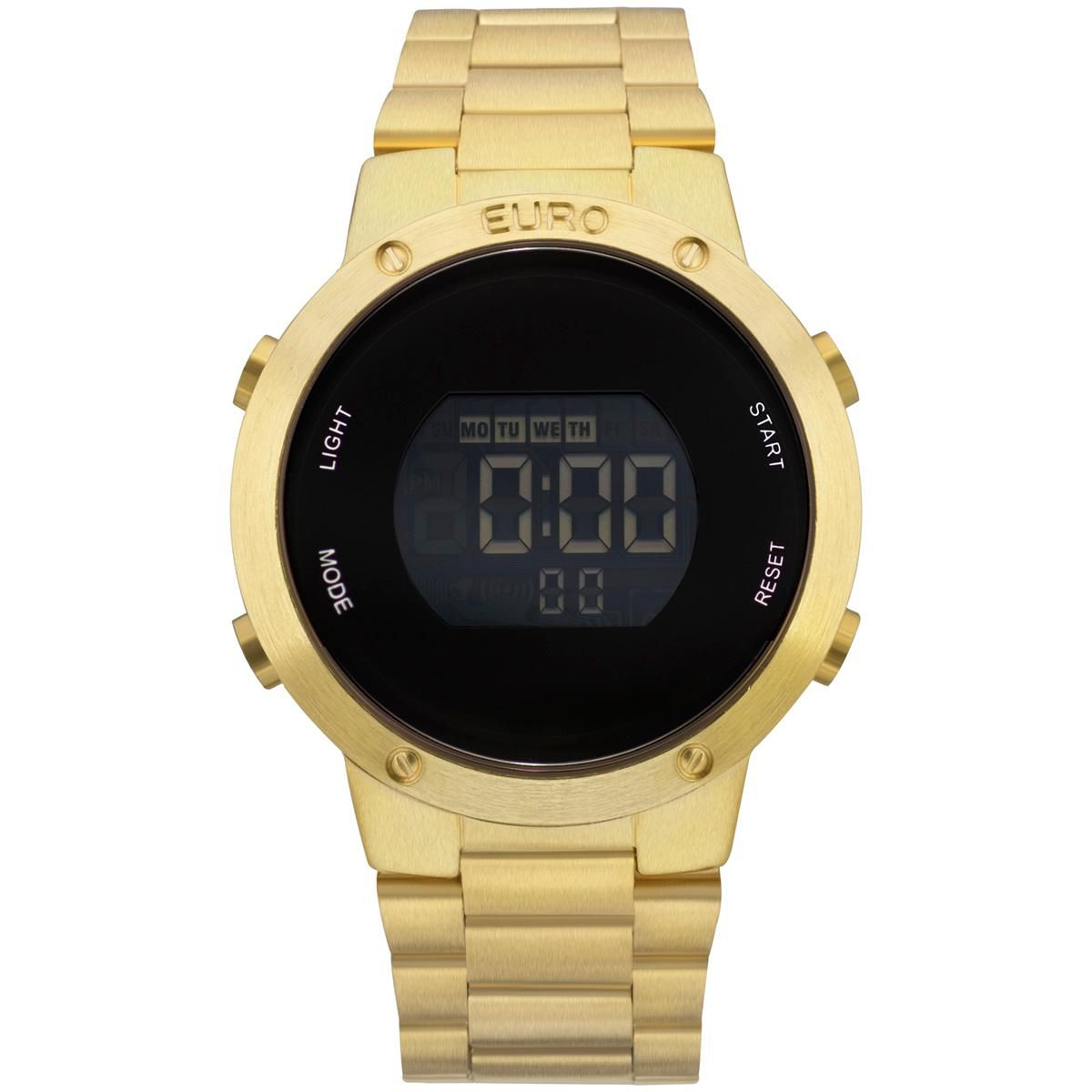 Relógio Feminino Euro Fashion Fit EUBJ3279AA/4D 44mm Digital Aço Dourado