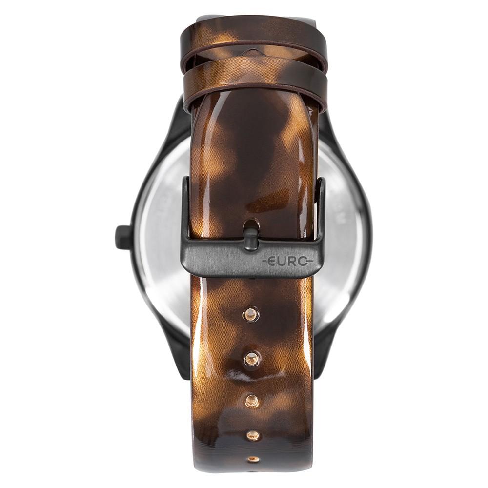 Relógio Feminino  Euro Glam Glitz EU2036YQY/3P 43mm Couro Eco Bicolor