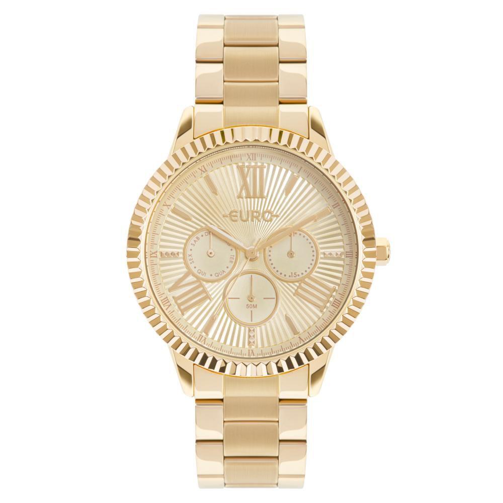Relógio Feminino Euro Multiglow EU6P29AHO/4D 43mm Aço Dourado