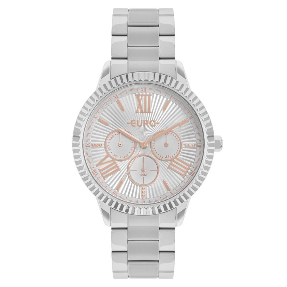 Relógio Feminino Euro Multiglow EU6P29AHR/3K 43mm Aço Prata
