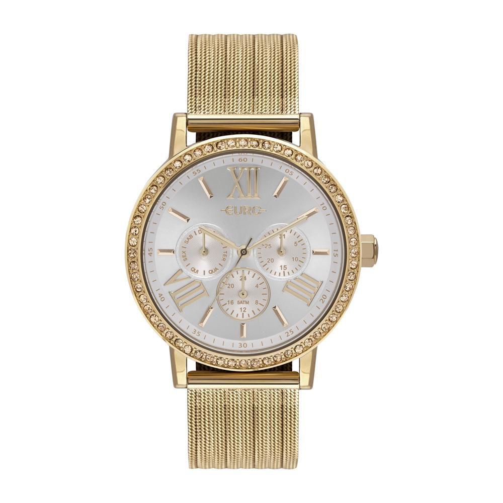 Relógio Feminino Euro Multiglow Party EU6P29AHL/4B 42mm Aço Dourado