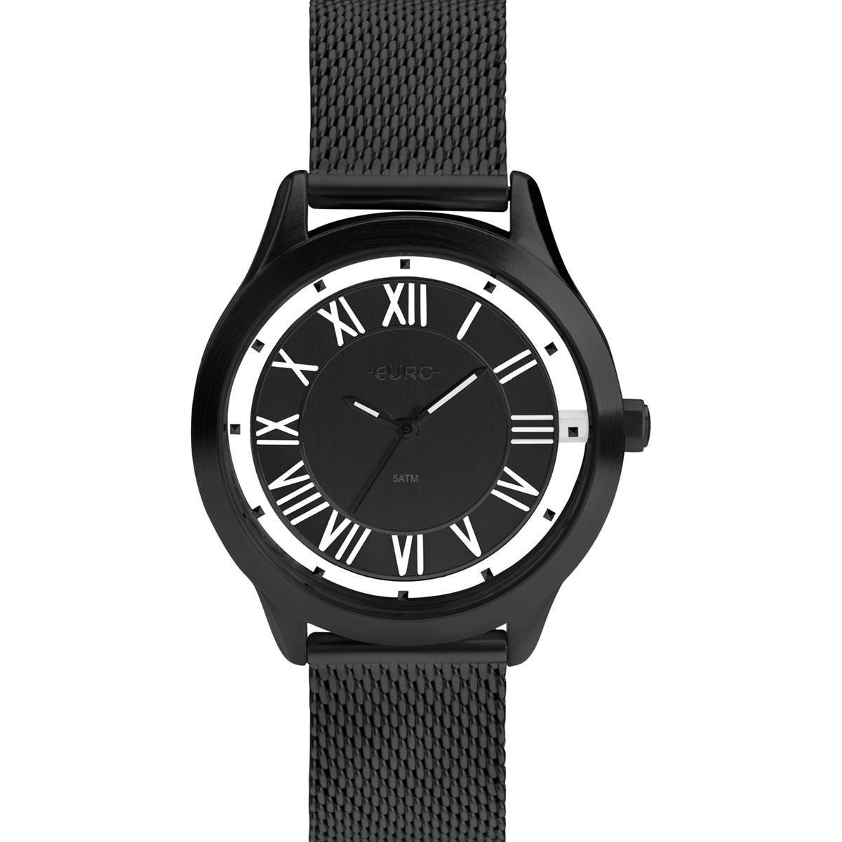 Relógio Feminino Euro Ouse Ser Você Mesma EU2039JI/4P 43mm Aço Preto