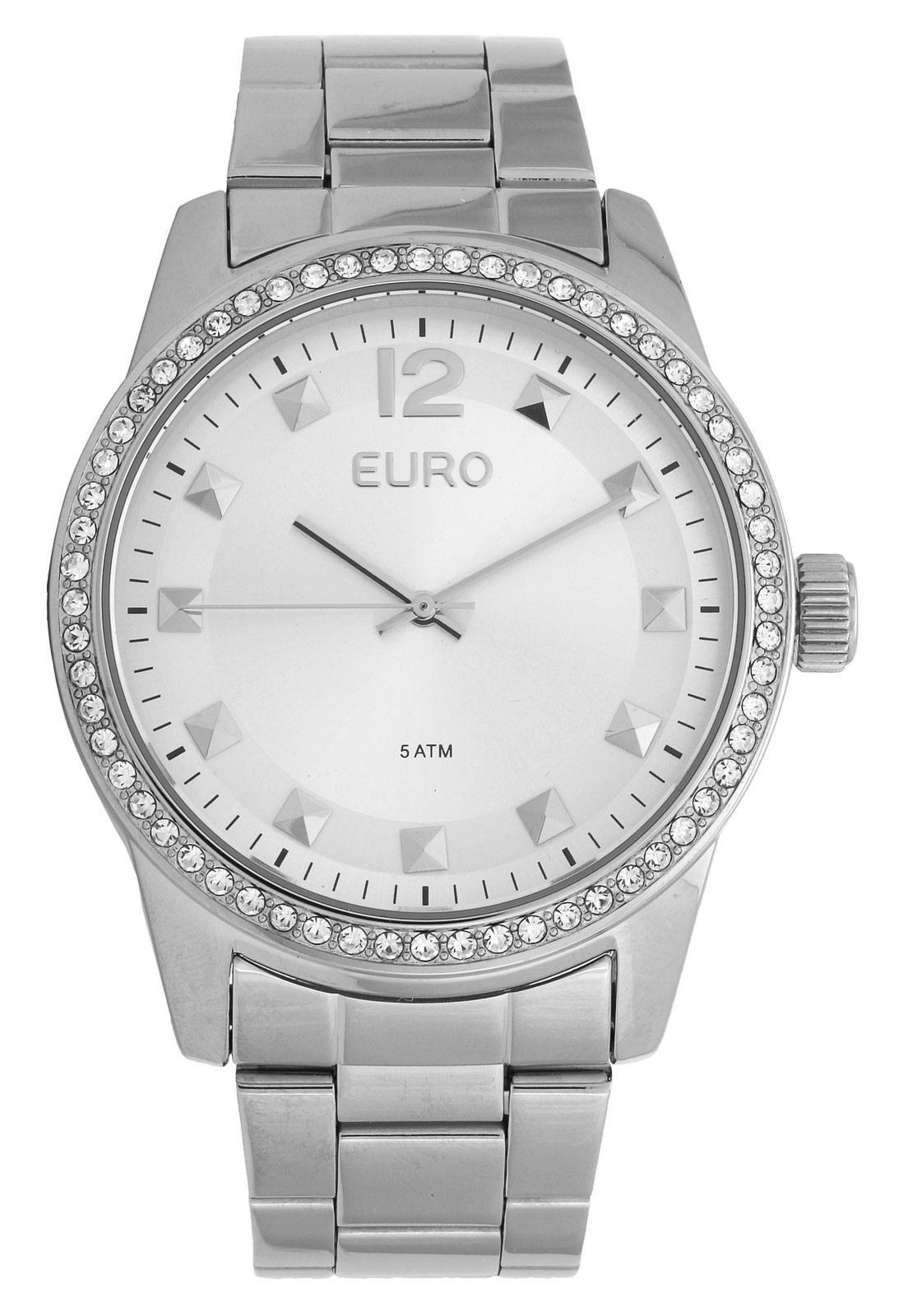 Relógio Feminino Euro Spike Road EU2035YLB/3K 43mm Aço Prata