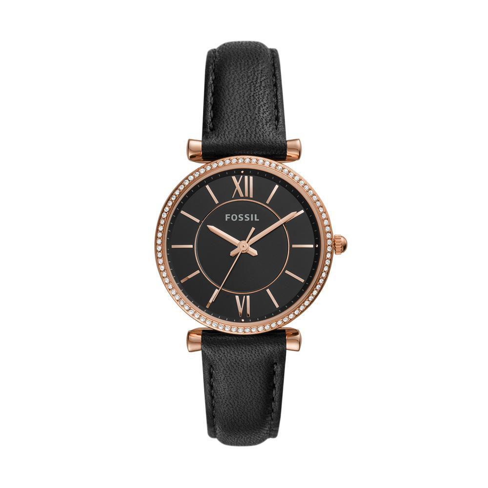 Relógio Feminino Fossil Carlie ES4507/0PN 35mm Couro Preto