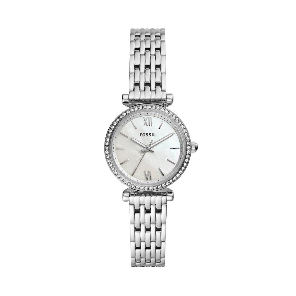 Relógio Feminino Fossil Carlie Mini ES4647/1KN 28mm Aço Prata