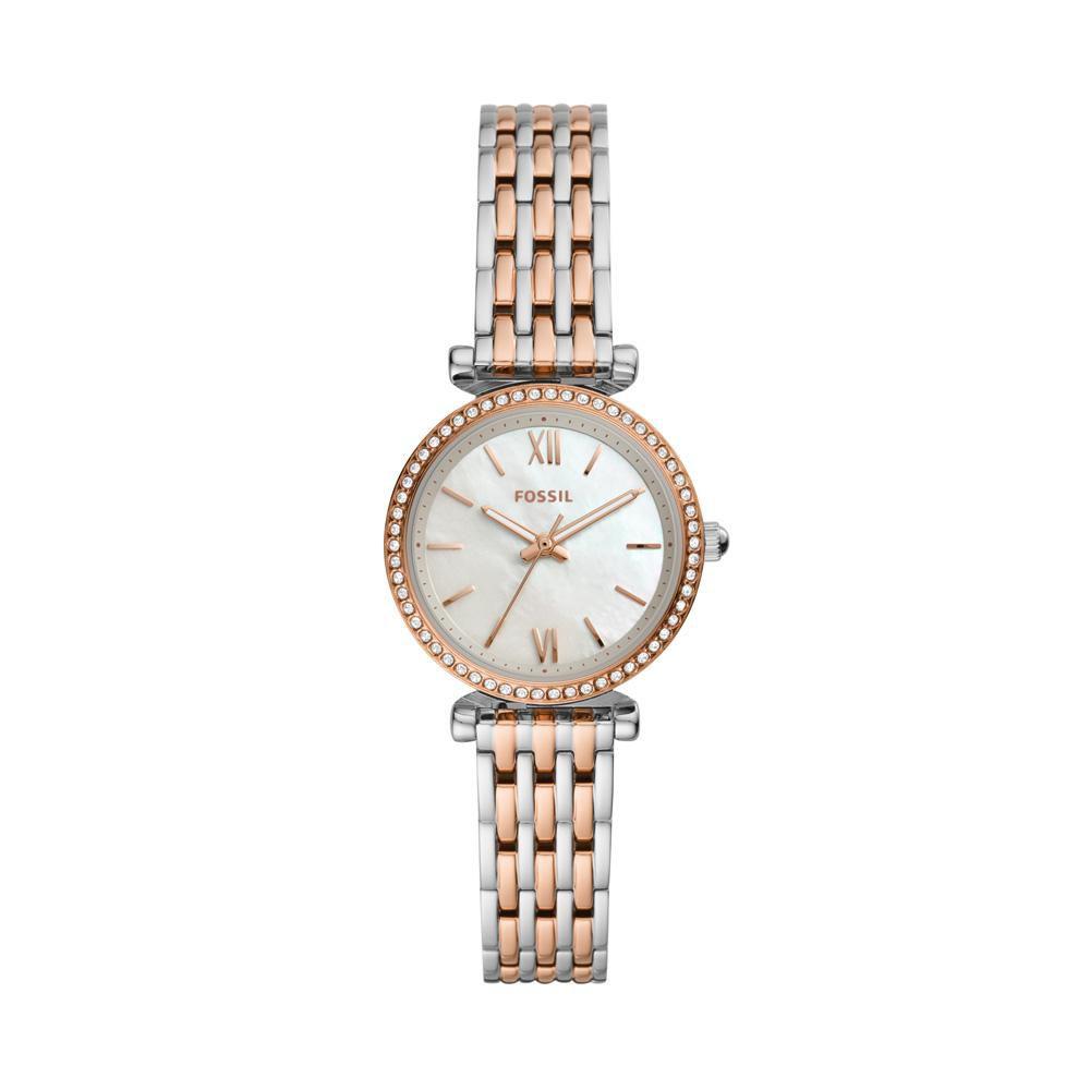 Relógio Feminino Fossil Carlie Mini ES4649/1KN 28mm Aço Bicolor Prata/Rosé