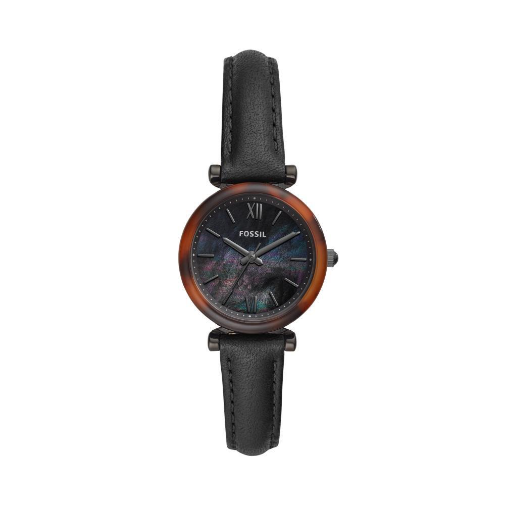 Relógio Feminino Fossil Carlie Mini ES4650/0PN 28mm Couro Preto