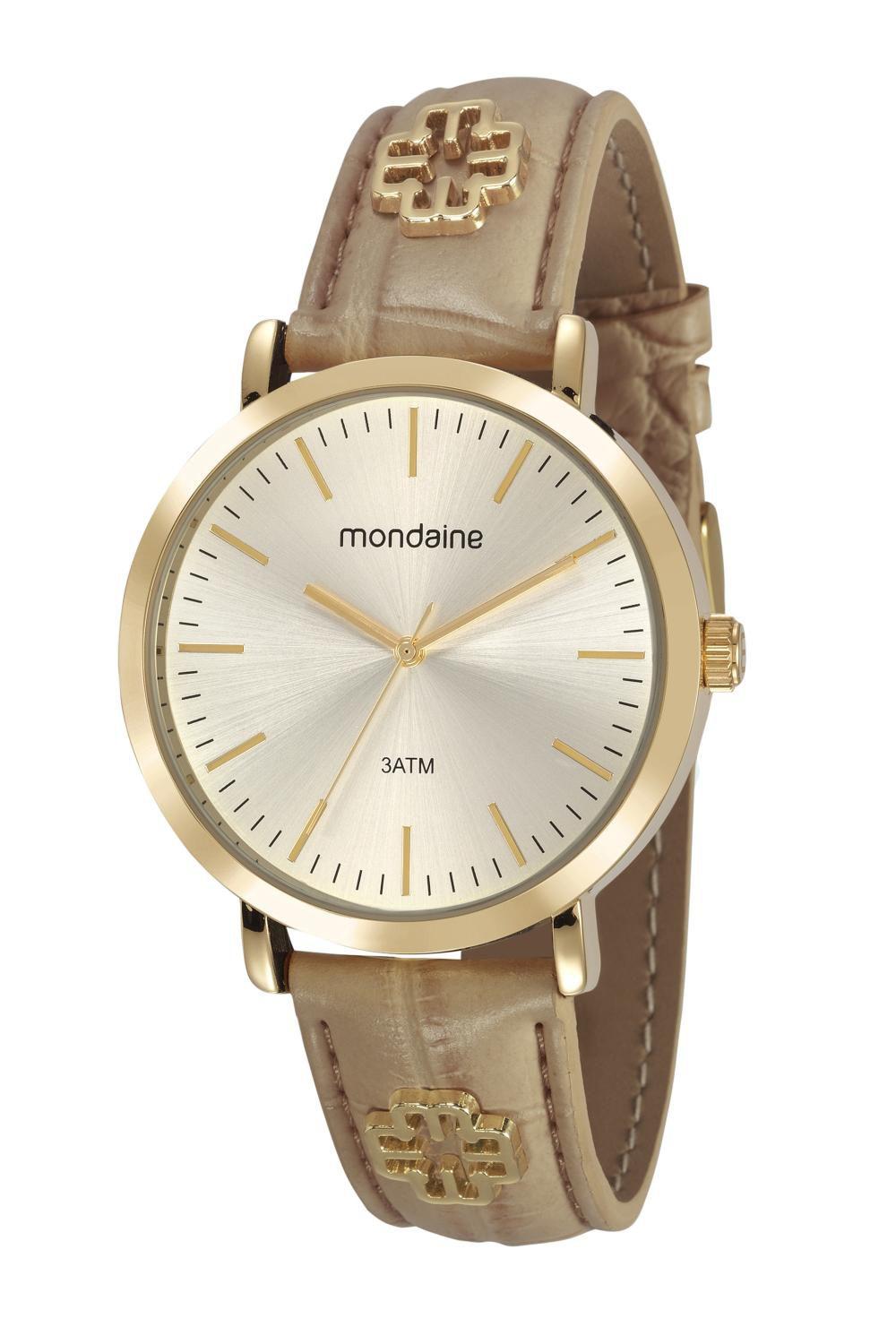Relógio Feminino Mondaine 53653LPMVDH2 42mm Couro Bege