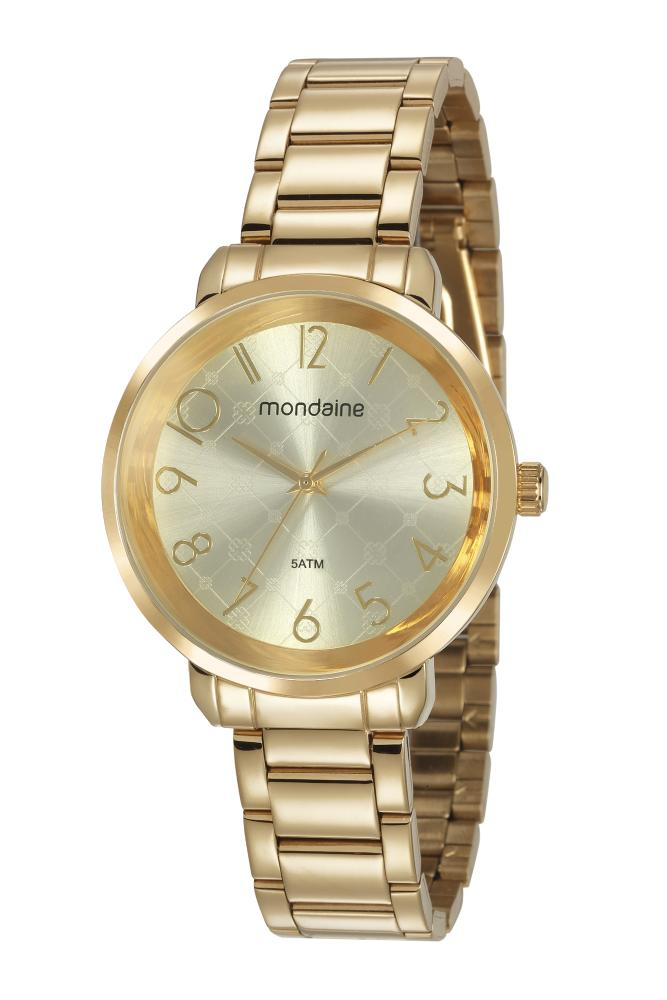 Relógio Feminino Mondaine 53657LPMVDE1 38mm Aço Dourado