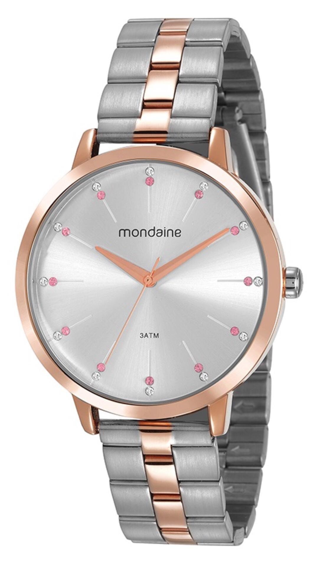 Relógio Feminino Mondaine 53659LPMVGE4 42mm Aço Bicolor Prata/Rose