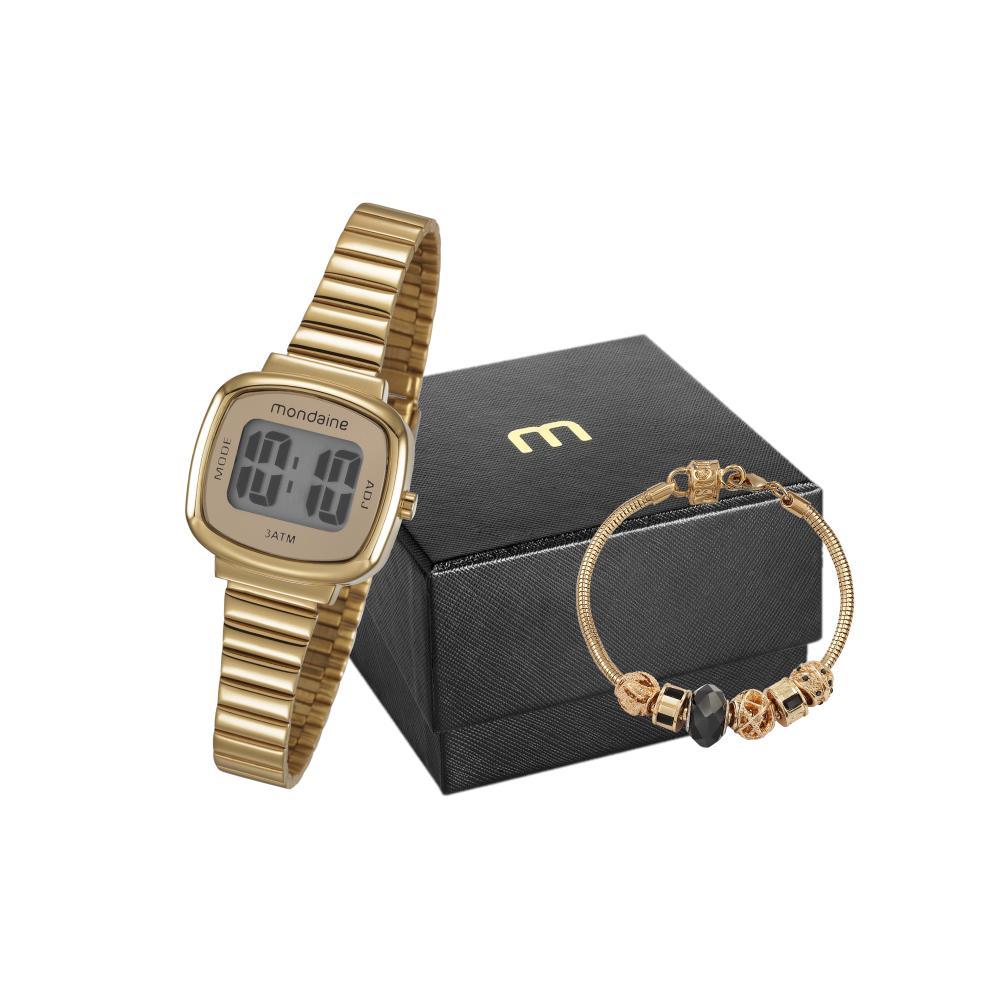 Relógio Feminino Mondaine 53717LPMVDE1K2 28mm Aço Dourado + Pulseira Dourada