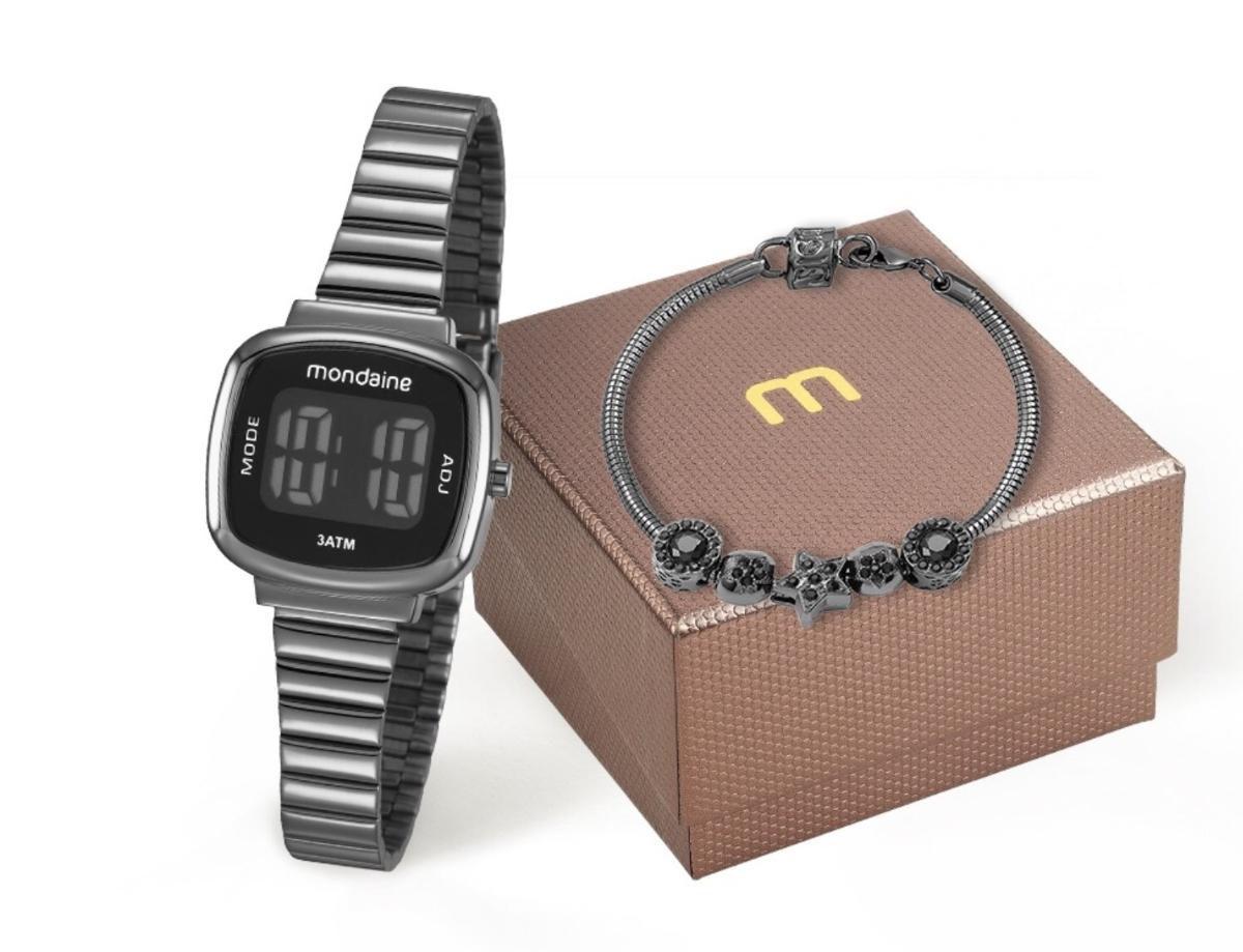 70fc21a6d81 Relógio Feminino Mondaine 53717LPMVPE3K1 27mm Digital Aço Grafite