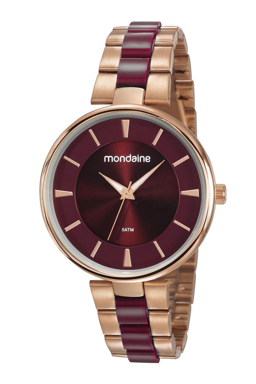 Relógio Feminino Mondaine 53774LPMVRF3 40mm Aço Rosé/Resina Vinho