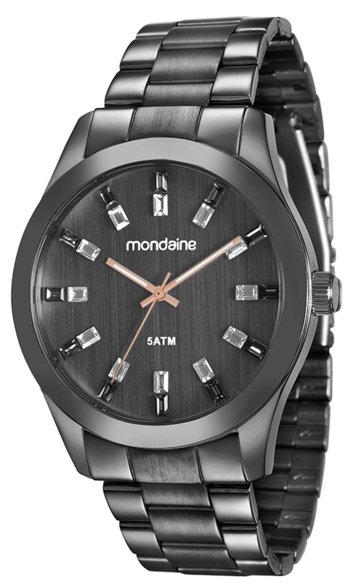 Relógio Feminino Mondaine 78663LPMVPA5 43mm Aço Preto