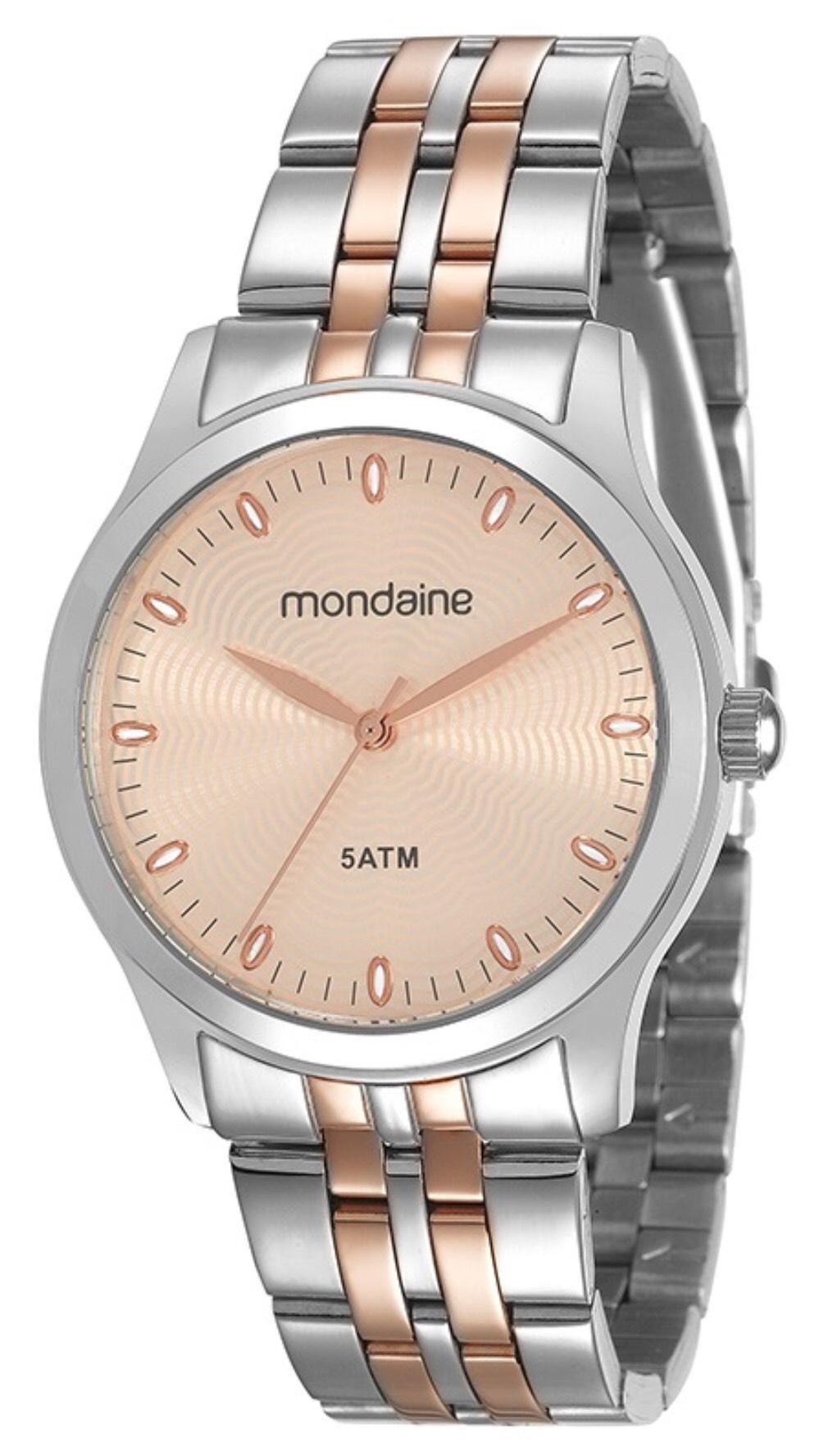 Relógio Feminino Mondaine 78745LPMVGA2 37mm Aço Bicolor Prata/Rose