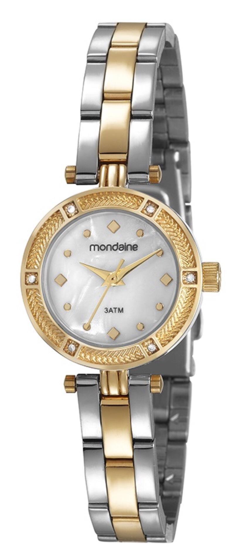 Relógio Feminino Mondaine 83380LPMVBE2 29mm Aço Bicolor Prata/Dourado