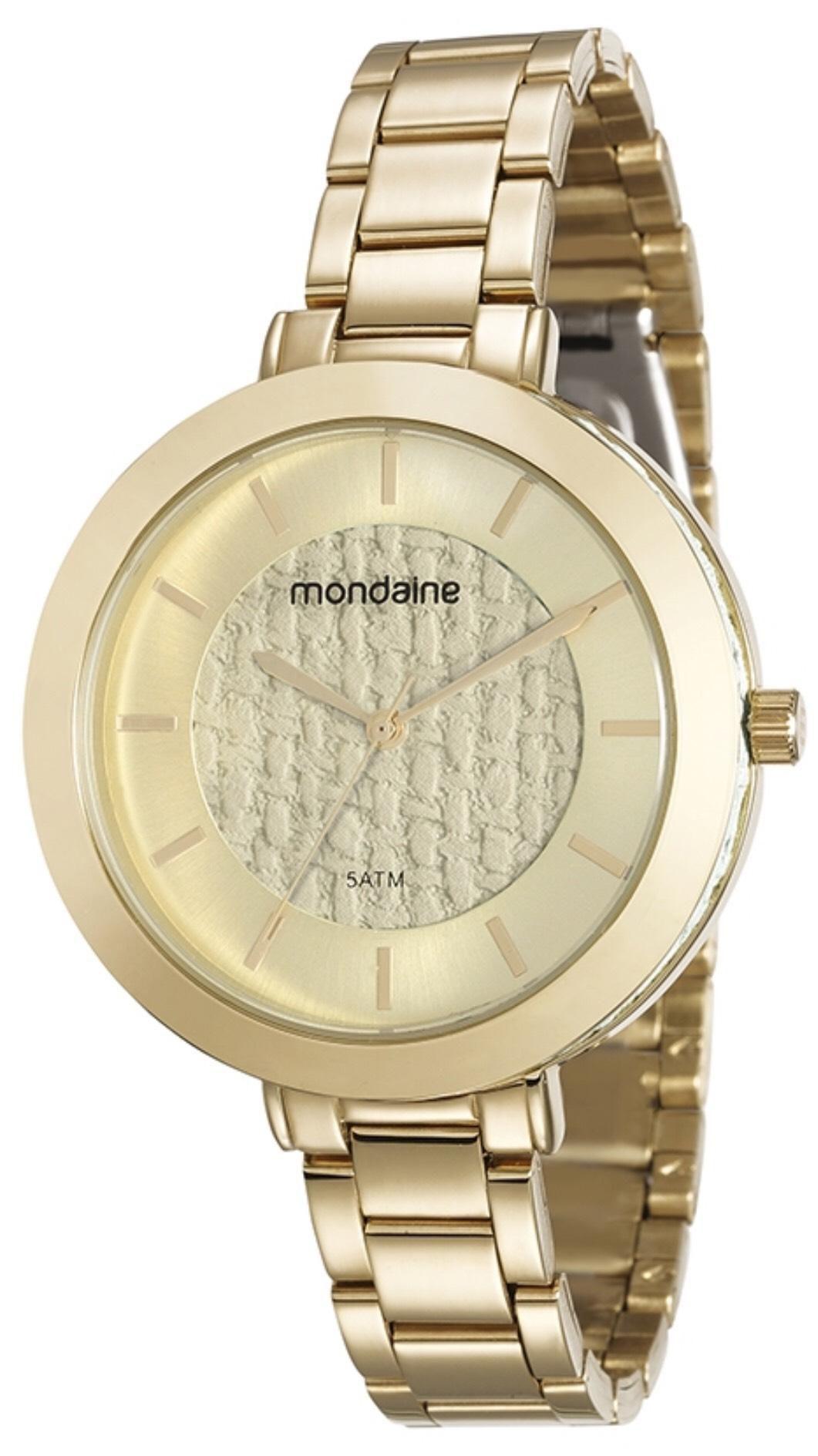 Relógio Feminino Mondaine 99172LPMVDE1 42mm Aço Dourado