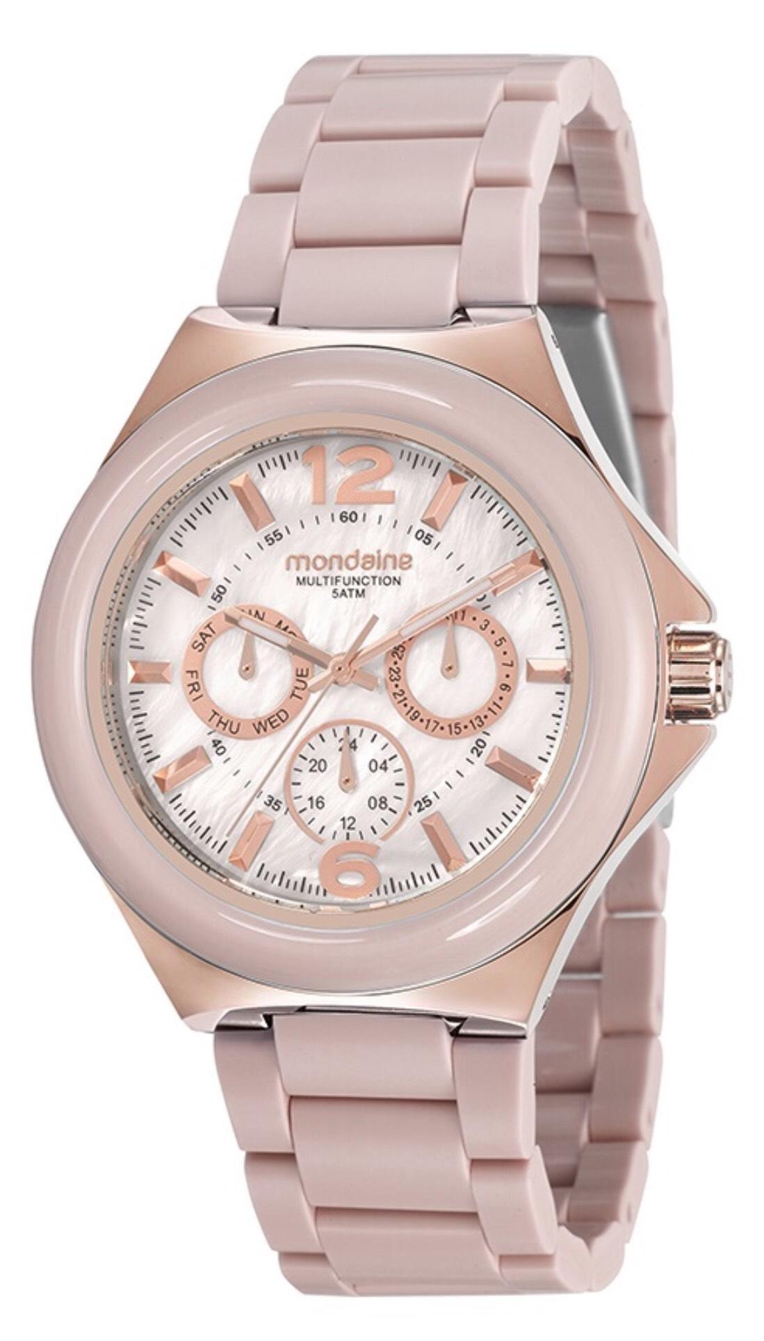Relógio Feminino Mondaine 99331LPMVRF5 42mm Resina Rosa