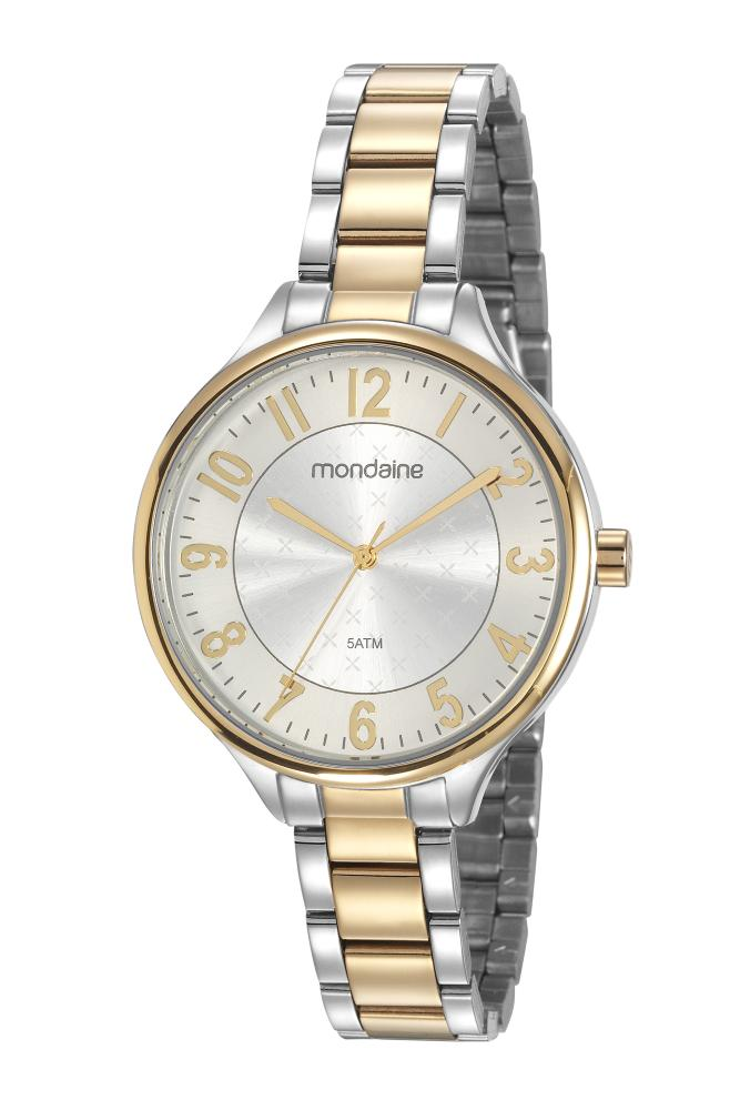 Relógio Feminino Mondaine 99458LPMVBE3 40mm Aço Bicolor Prata/Dourado