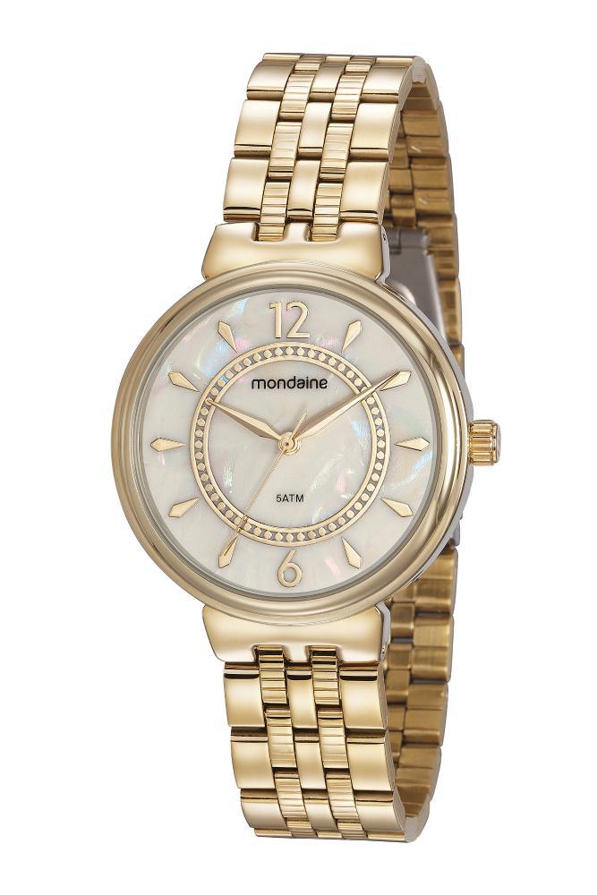 Relógio Feminino Mondaine 99461LPMVDE1 40mm Aço Dourado