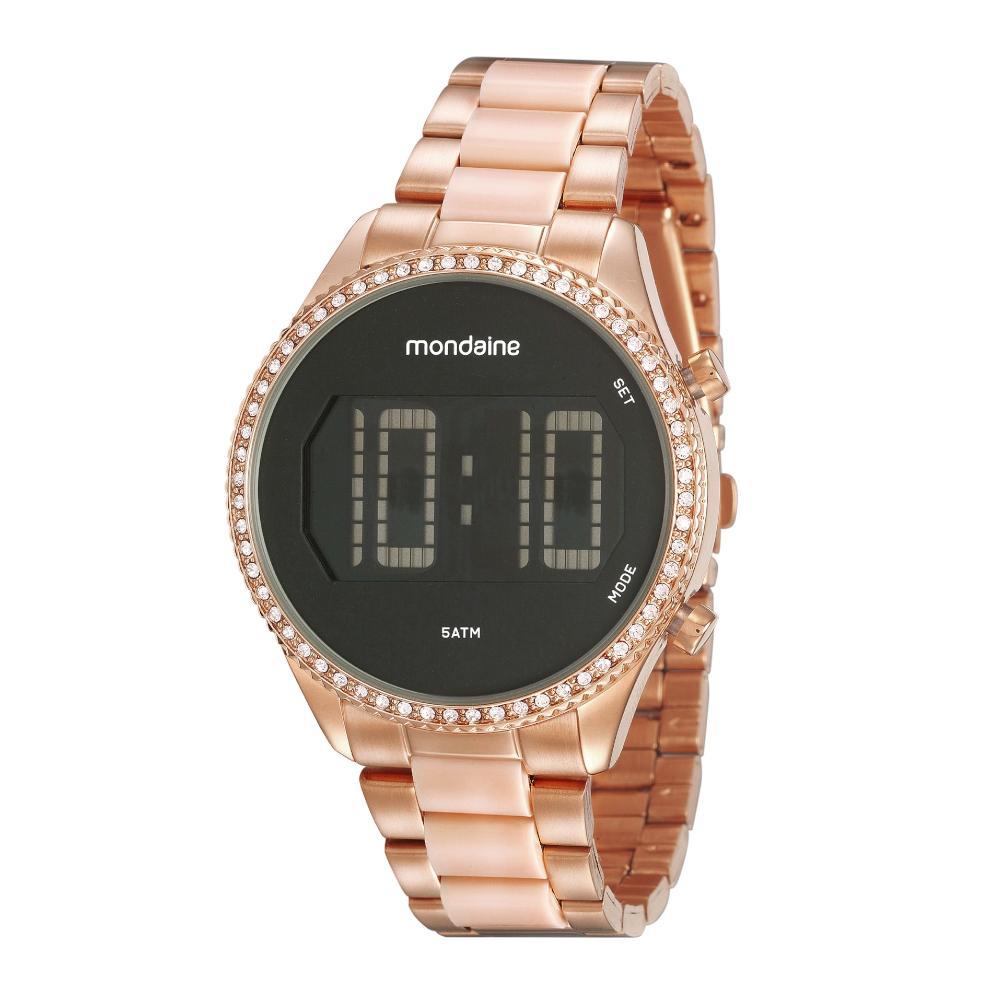 Relógio Feminino Mondaine Cristais 32122LPMVRF2 40mm Aço Rosé