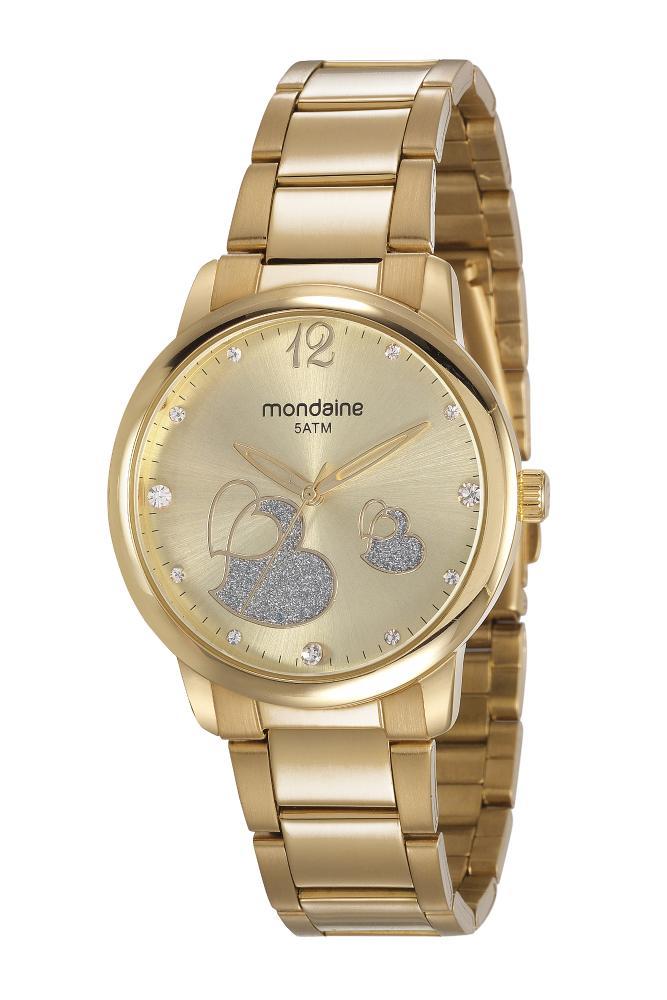 Relógio Feminino Mondaine Cristais 53627LPMVDE1 38mm Aço Dourado