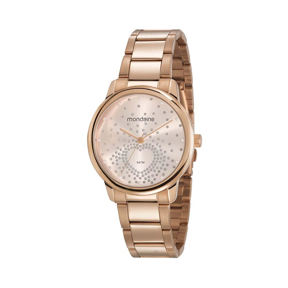 Relógio Feminino Mondaine Cristais 53699LPMGRE3 37mm Aço Rosé