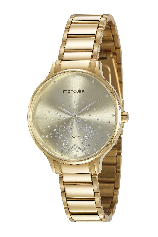 Relógio Feminino Mondaine Cristais 53862LPMVDE2 38mm Aço Dourado