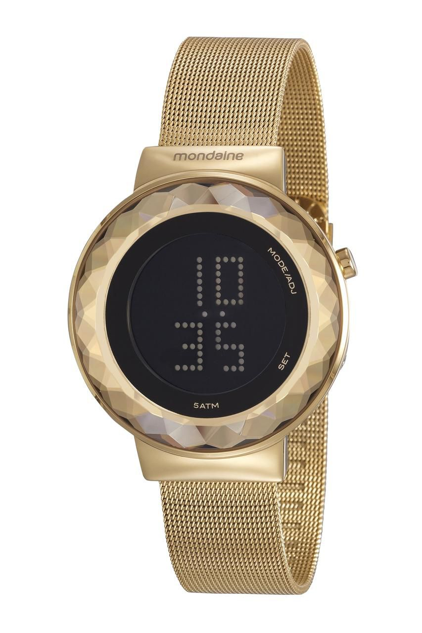 Relógio Feminino Mondaine Digital 32006LPMVDE1 42mm Aço Dourado