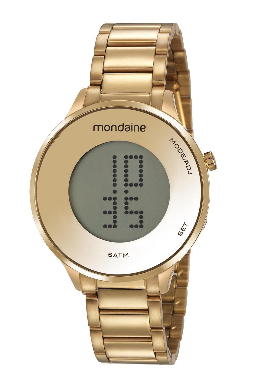 Relógio Feminino Mondaine Digital LCD 53786LPMVDE1 42mm Aço Dourado